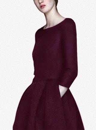 秋冬季新款高端女装气质修身高腰连衣裙A字裙