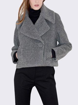 欧美秋冬新款时尚双排扣毛呢外套短款呢子大衣