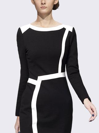 新款女装撞色气质长袖修身包臀OL职业连衣裙